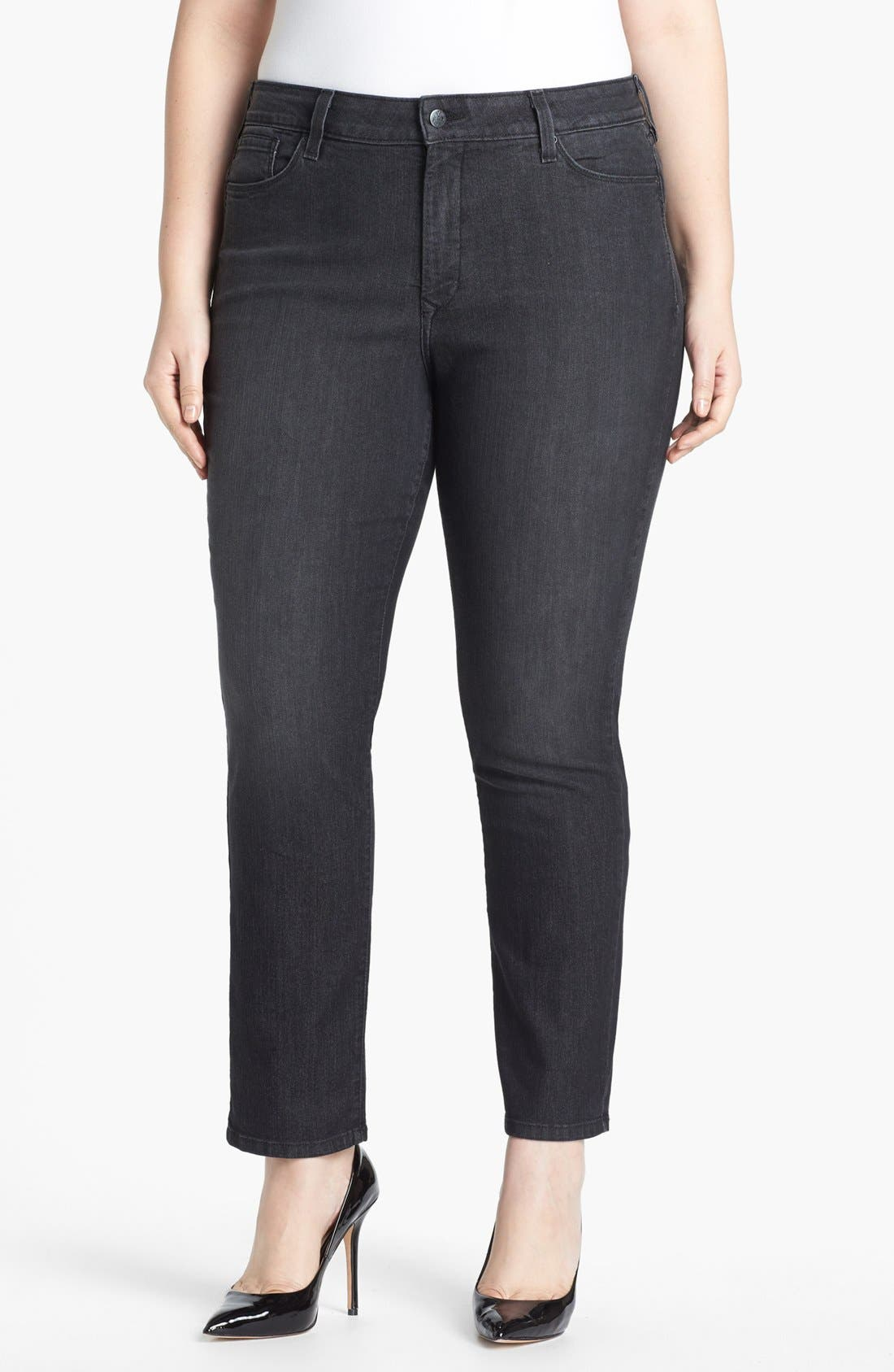 Alternate Image 1 Selected - NYDJ 'Sheri' Stretch Ankle Jeans (Onyx) (Plus Size)