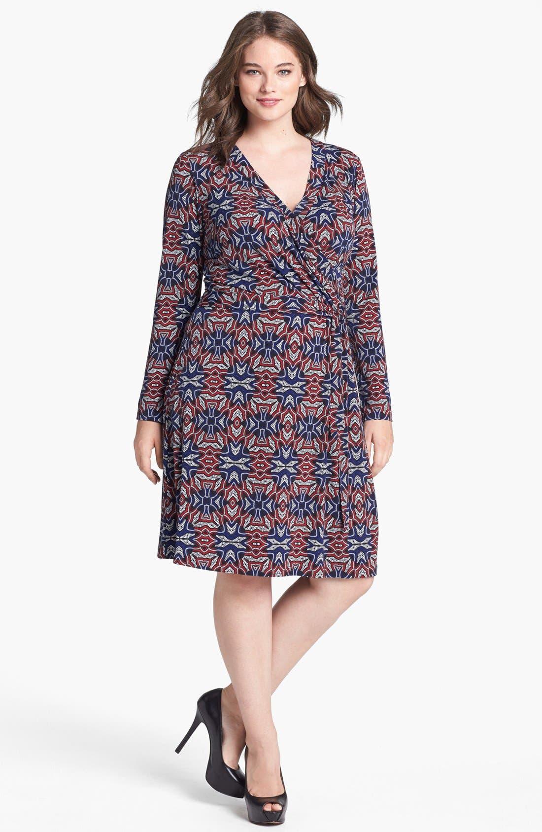 Main Image - Anne Klein Print Faux Wrap Dress (Plus Size)