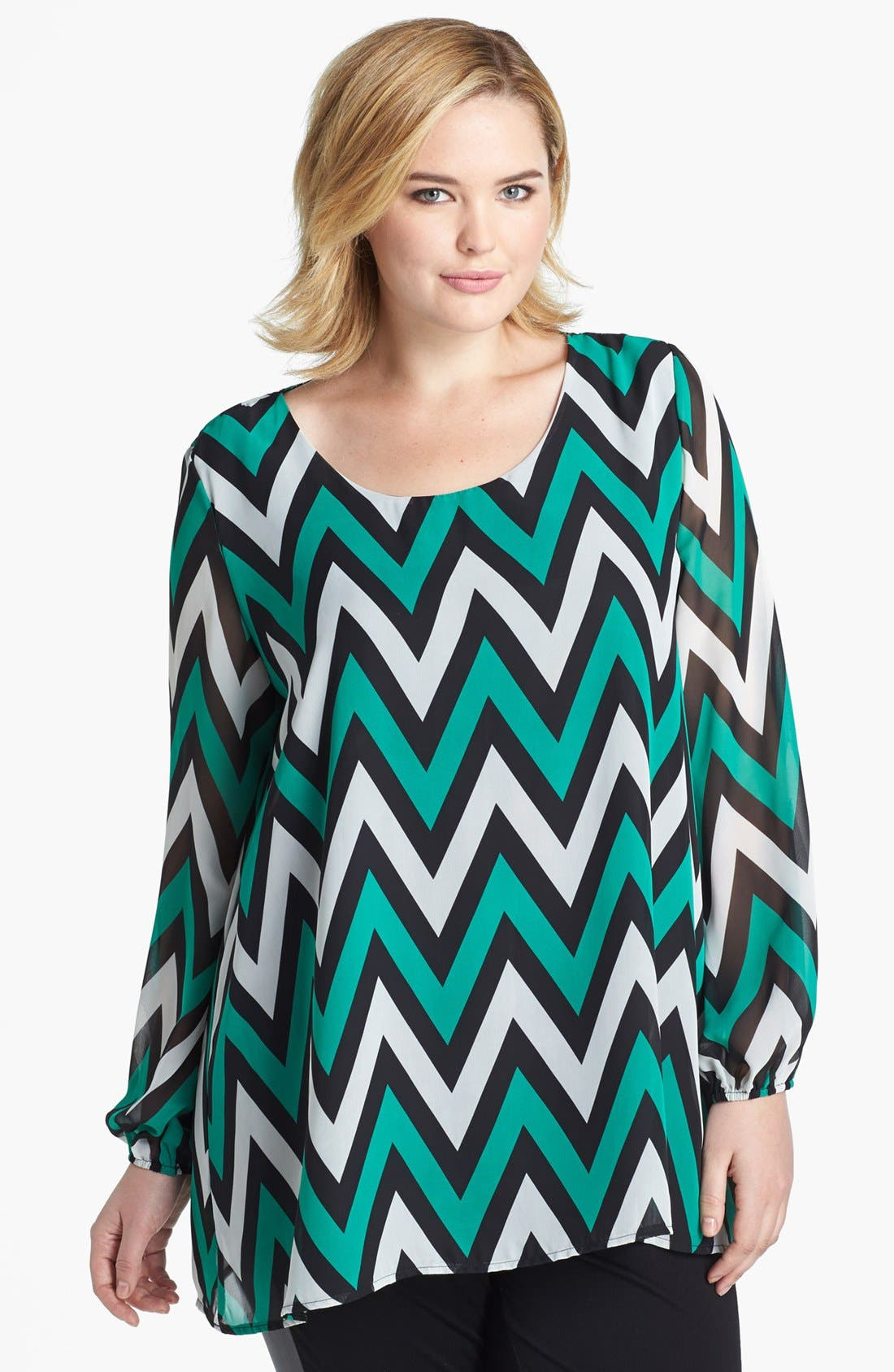 Main Image - Kische Chevron Stripe Chiffon Tunic (Plus Size)