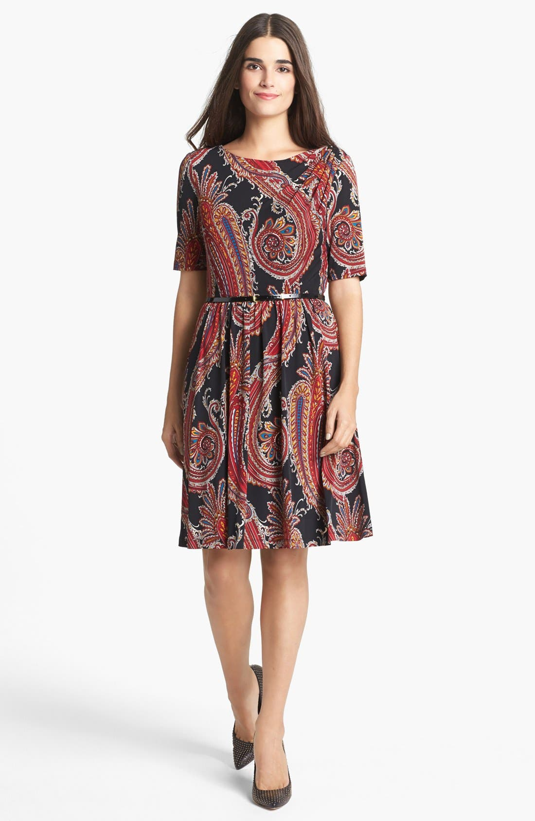 Main Image - Ellen Tracy Print Jersey Fit & Flare Dress