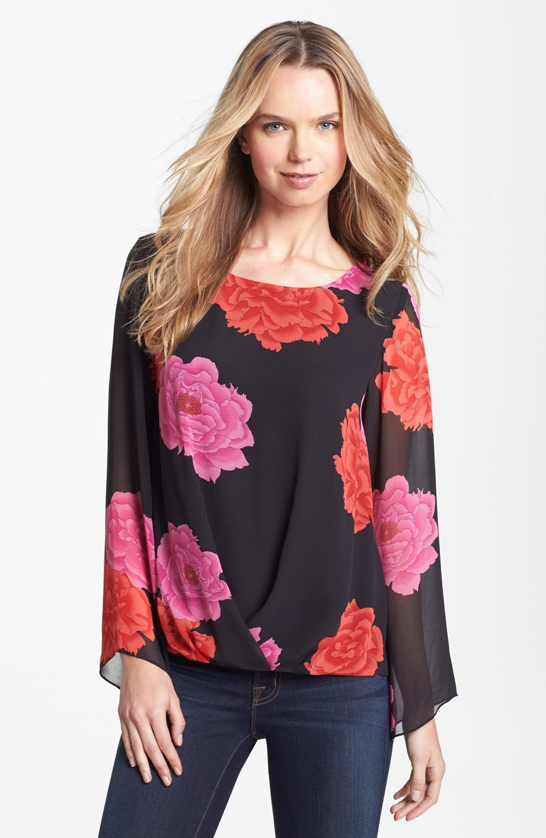 Alternate Image 1 Selected - Vince Camuto 'Peonies' Fluted Sleeve Blouse