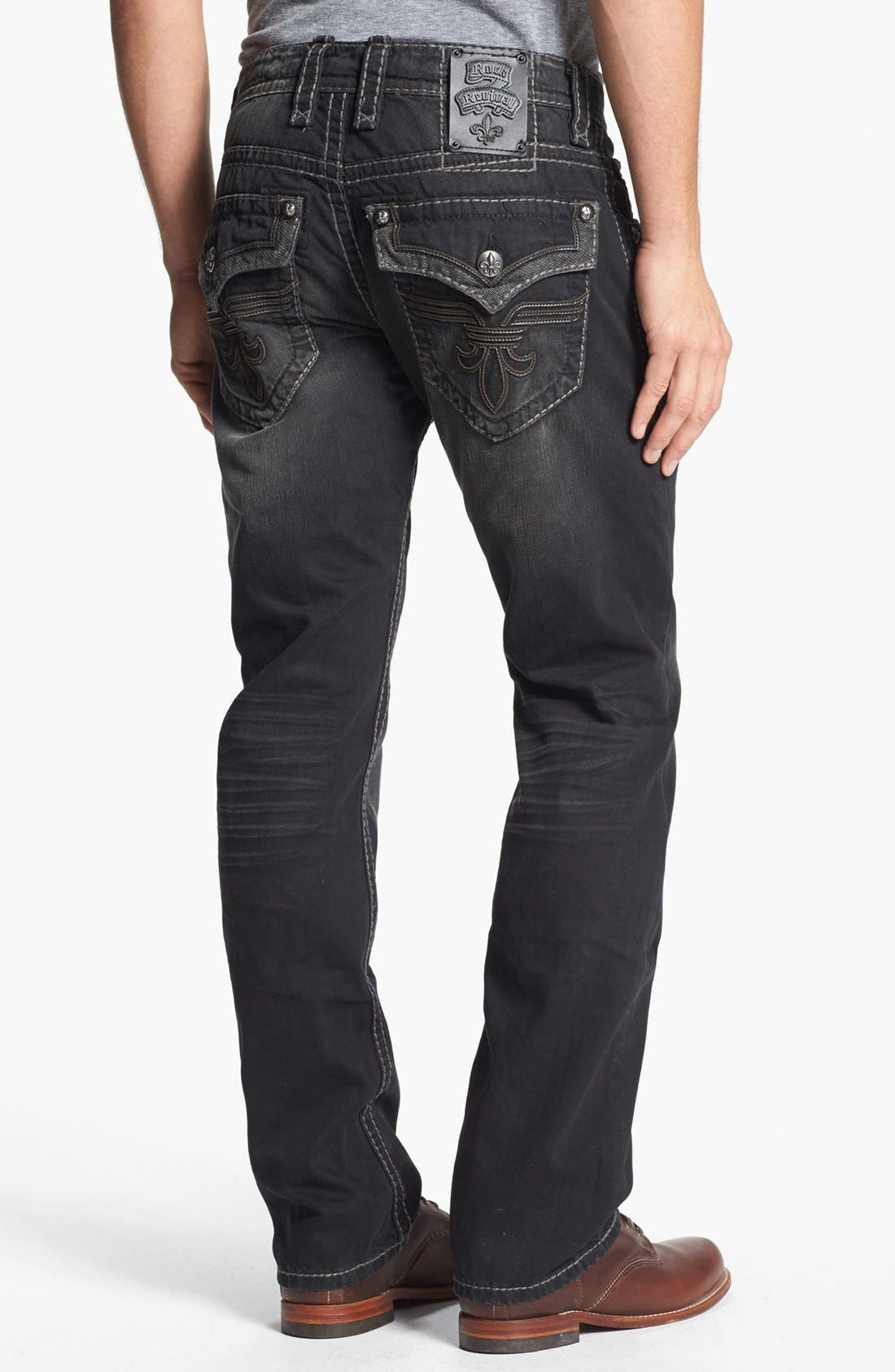 Main Image - Rock Revival 'Chopper' Straight Leg Jeans (Black)