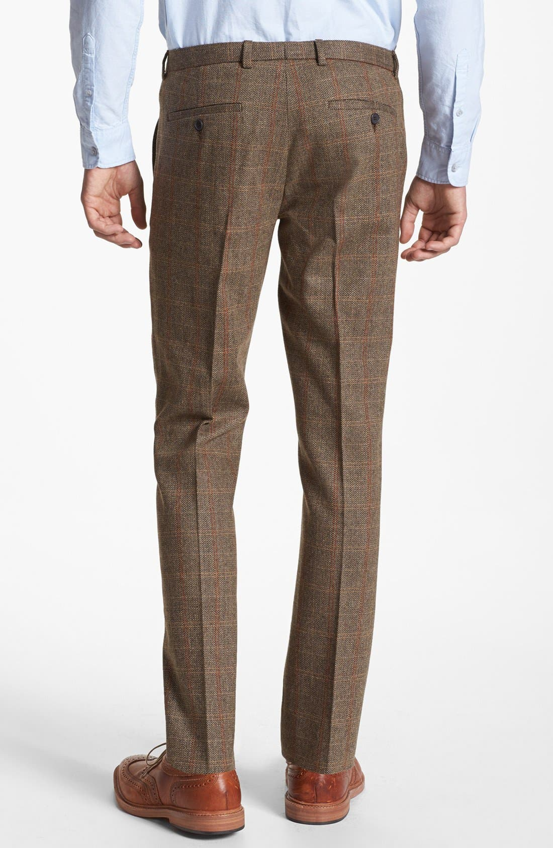Alternate Image 2  - Topman Slim Fit Check Tweed Trousers