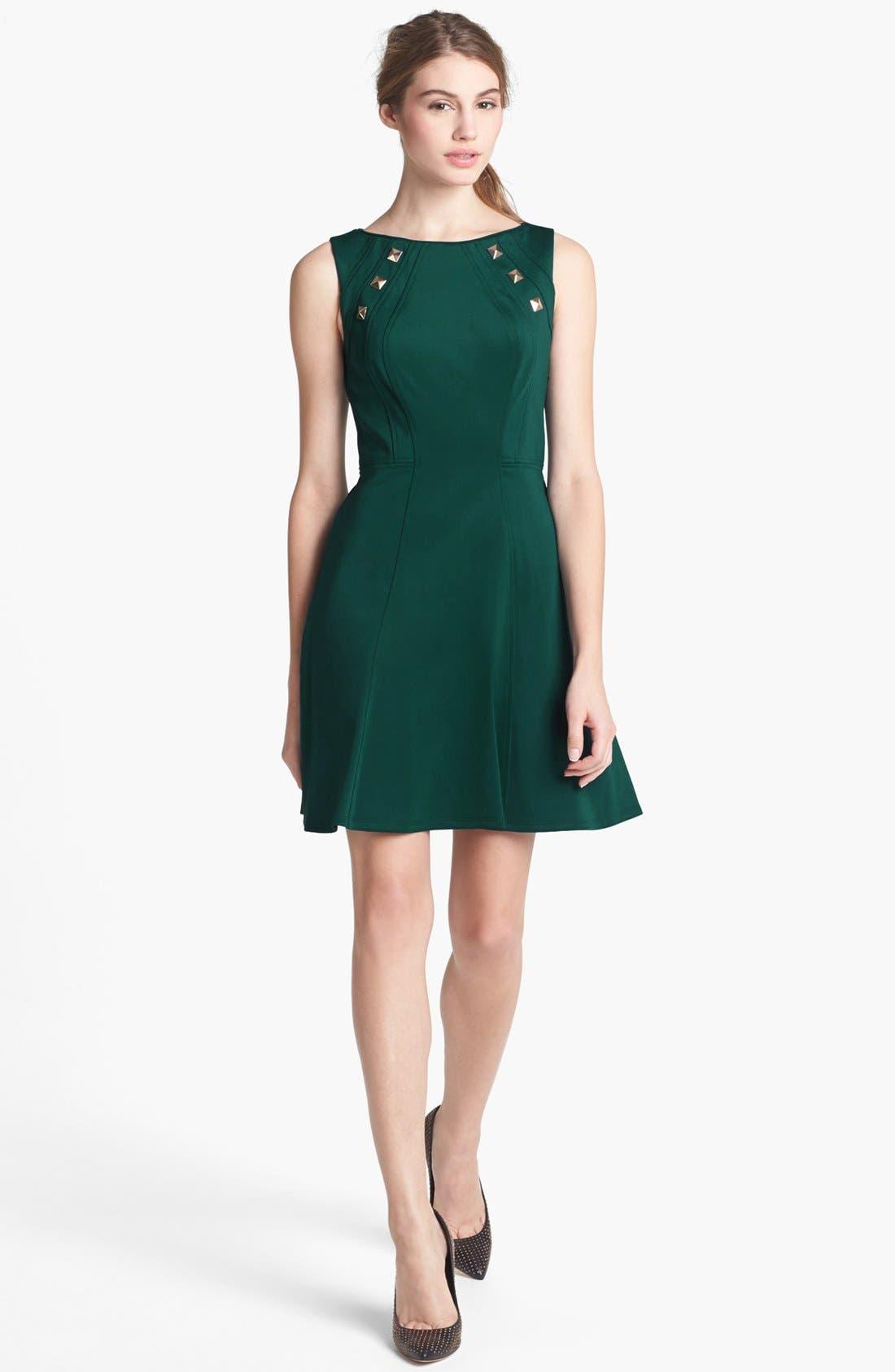 Main Image - Vince Camuto Studded Scuba Knit Fit & Flare Dress
