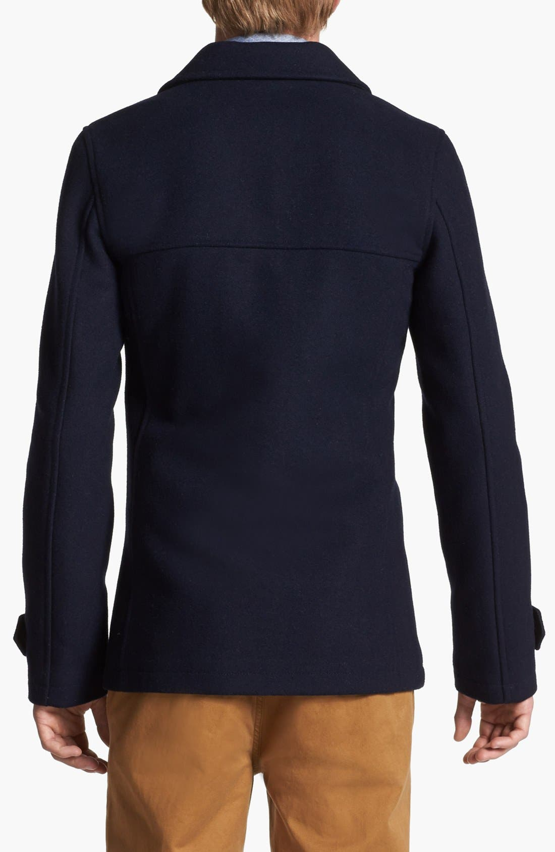Alternate Image 2  - Topman Skinny Fit Double Breasted Wool Blend Peacoat