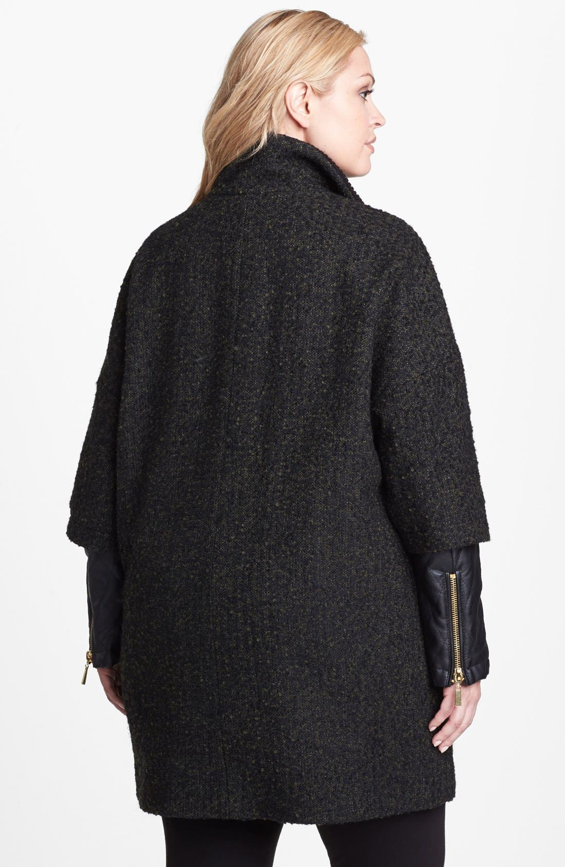 Alternate Image 2  - Vince Camuto Faux Leather Sleeve Bouclé Tweed Coat (Plus Size)