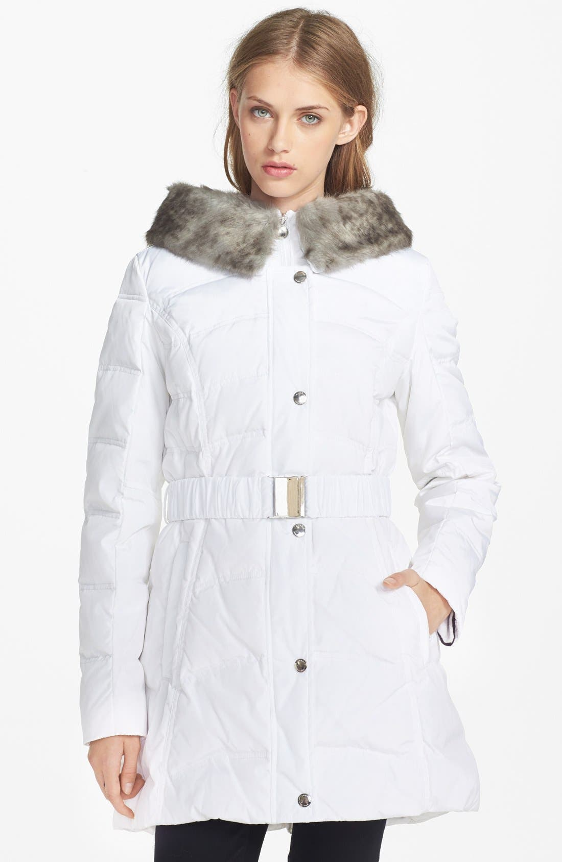 Main Image - Laundry by Shelli Segal Faux Fur Collar Down & Feather Coat (Online Only)