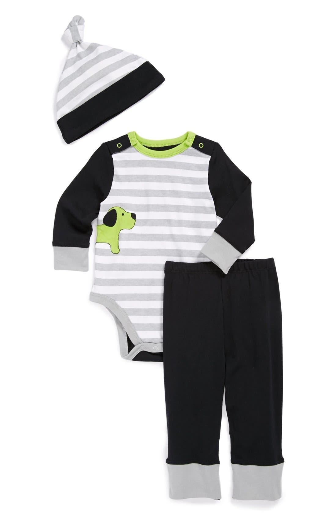 Main Image - Offspring Bodysuit, Pants & Hat (Baby Boys)