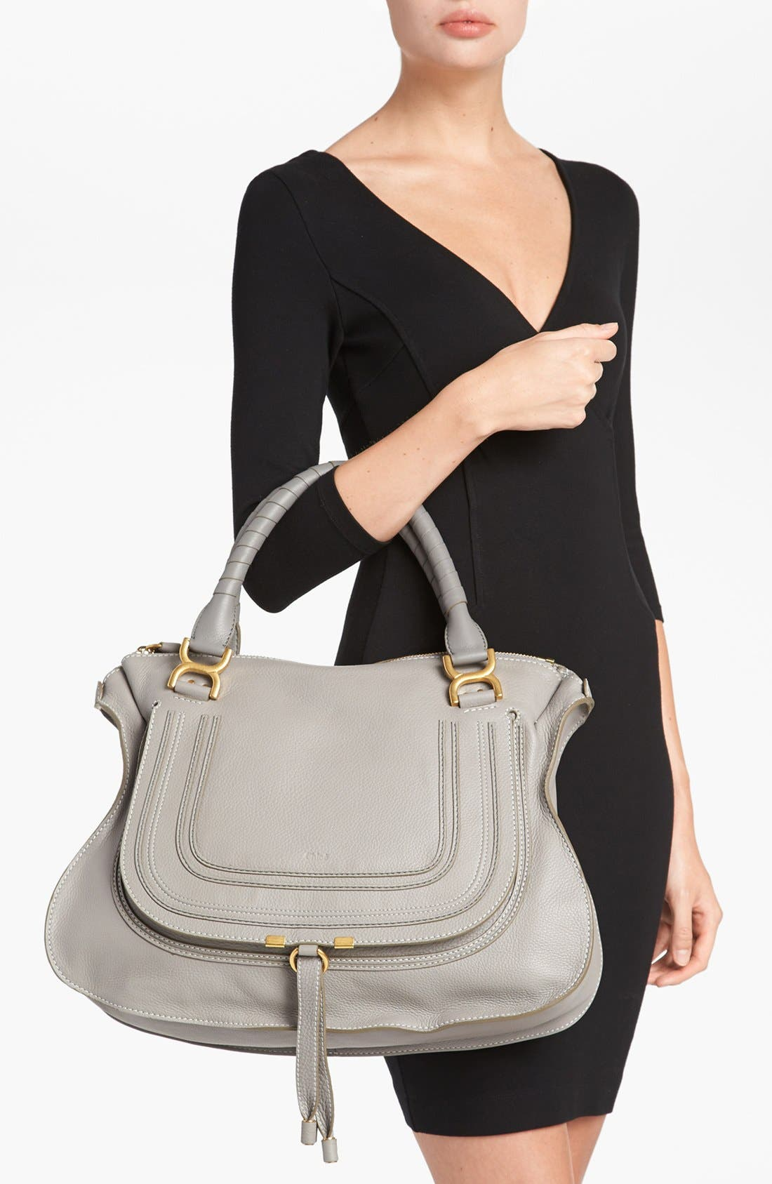Large Marcie Leather Satchel,                             Alternate thumbnail 2, color,                             Cashmere Grey