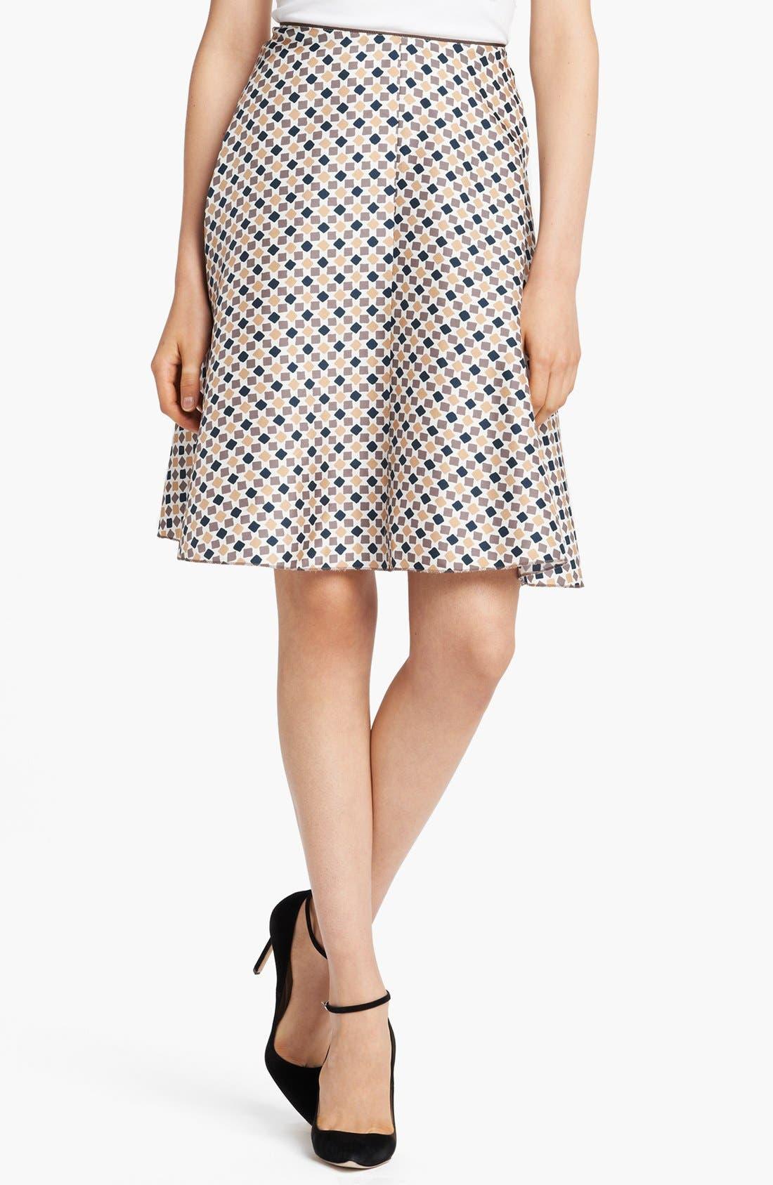 Main Image - Nina Ricci Geometric Print Silk A-Line Skirt