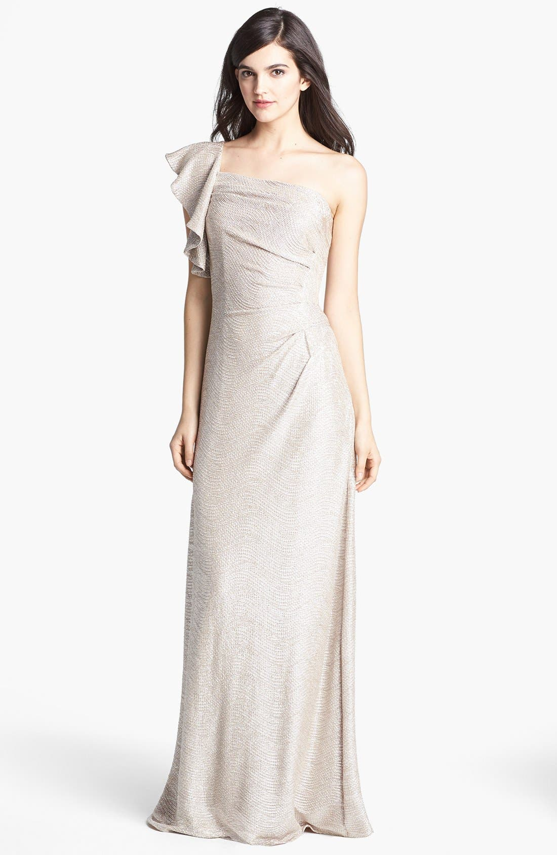 Main Image - Hailey by Adrianna Papell Metallic One-Shoulder Gown