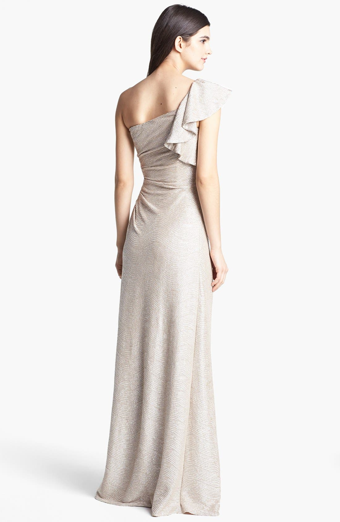 Alternate Image 2  - Hailey by Adrianna Papell Metallic One-Shoulder Gown