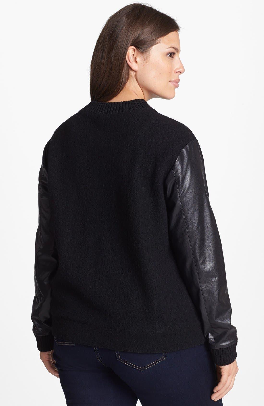 Alternate Image 2  - Halogen® Wool & Faux Leather Jacket (Plus Size)
