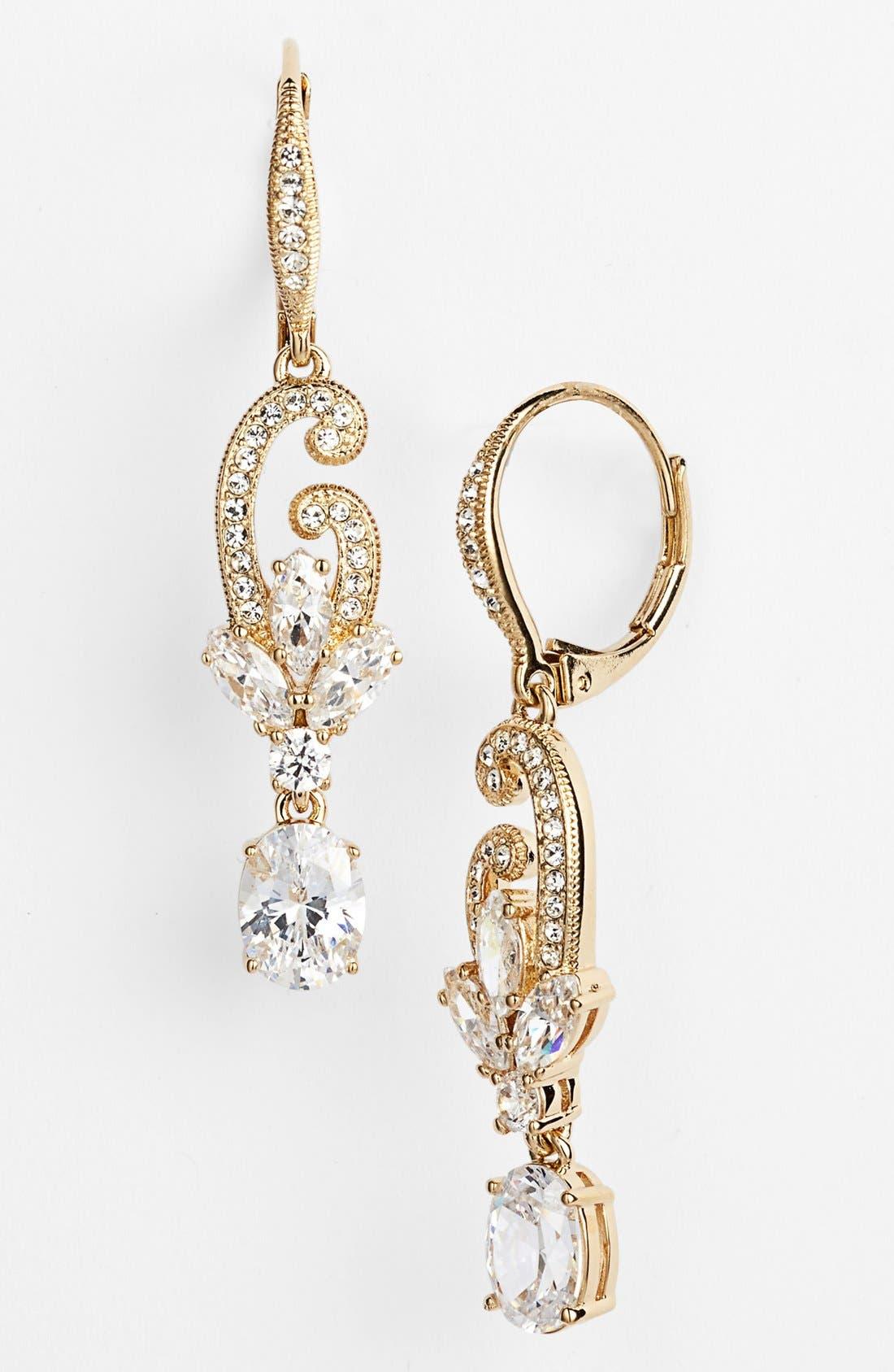 Main Image - Nadri Crystal Scroll Drop Earrings