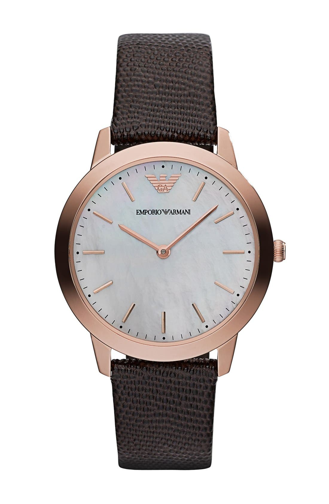 Alternate Image 1 Selected - Emporio Armani Round Lizard Embossed Leather Strap Watch, 33mm