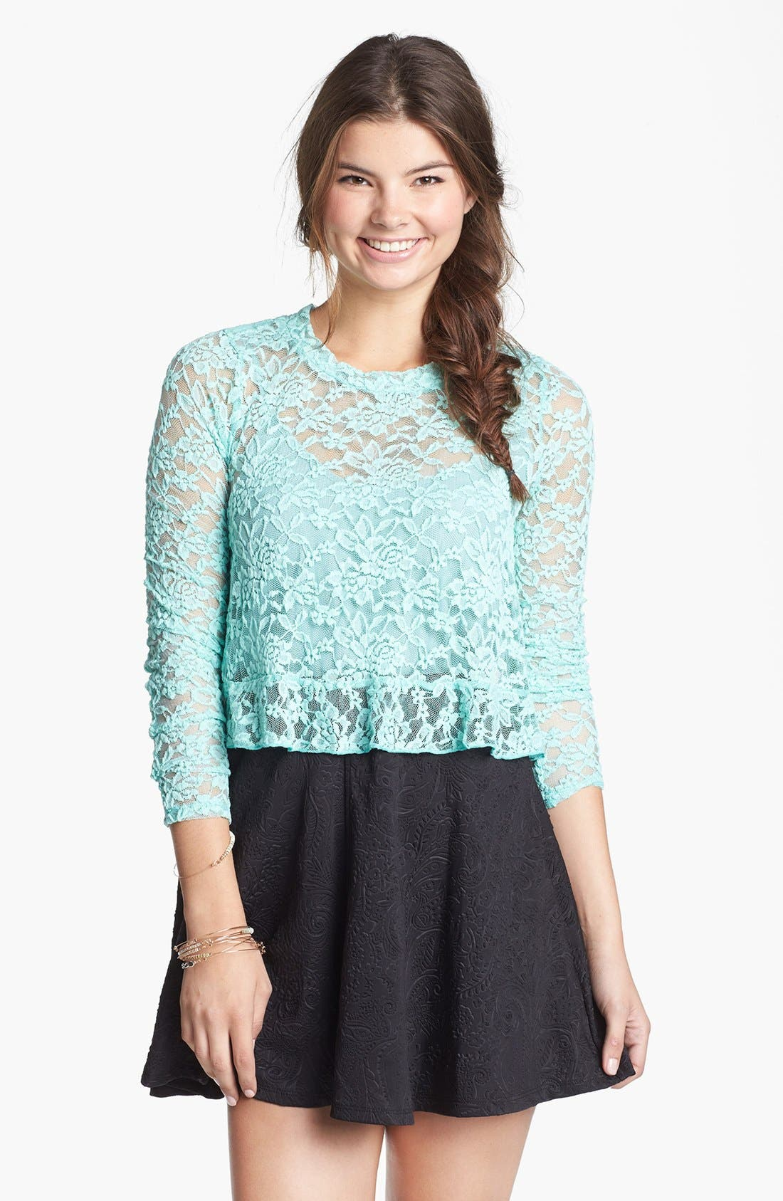 Alternate Image 1 Selected - Lily White Lace Peplum Crop Top (Juniors) (Online Only)