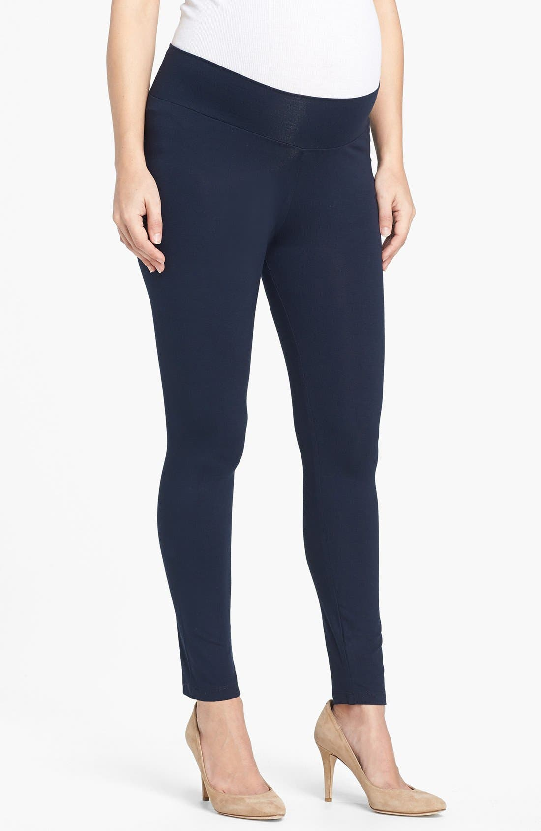 Maternity Leggings,                             Main thumbnail 1, color,                             Navy