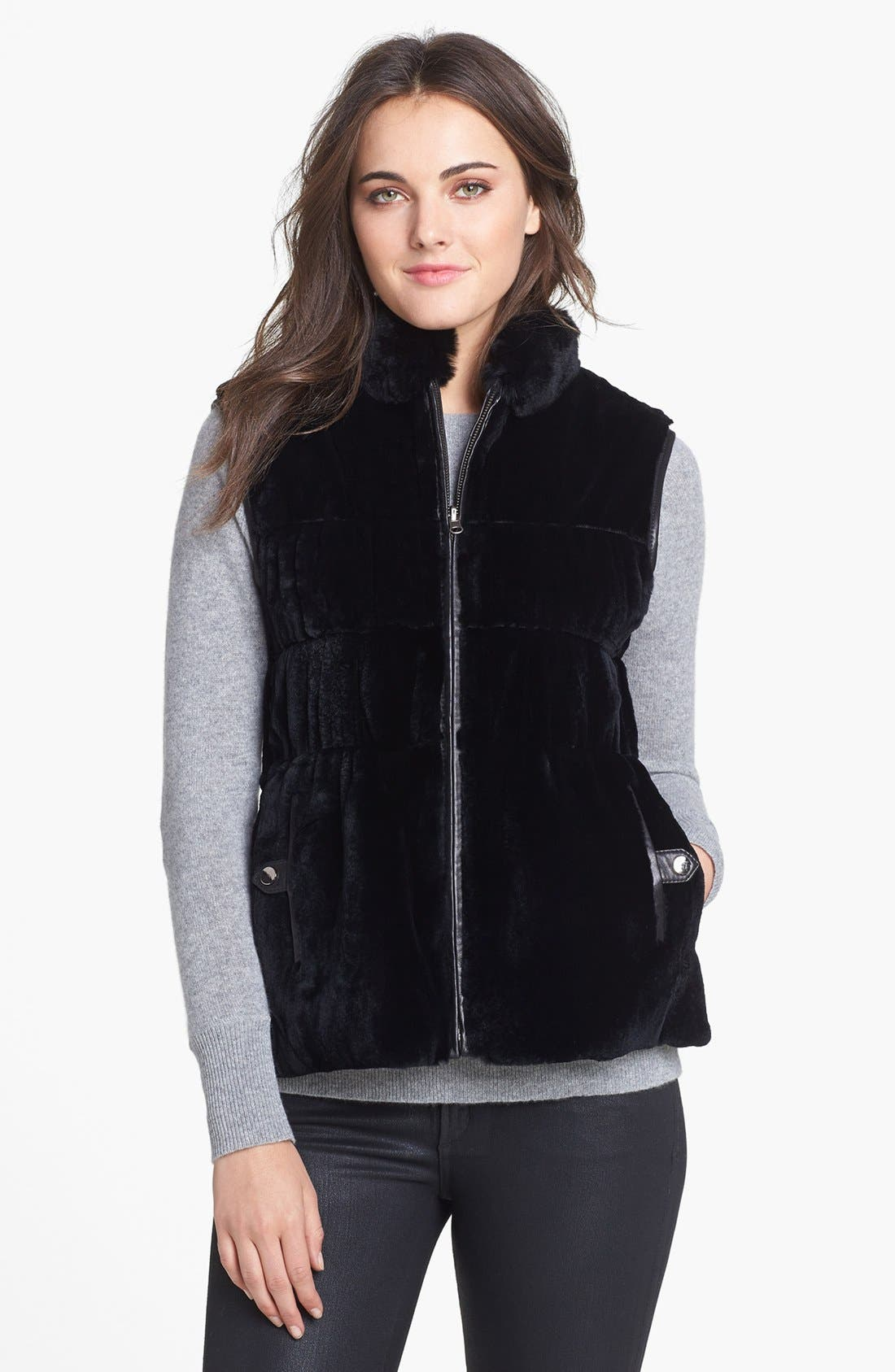 Main Image - Chosen Furs Reversible Rabbit Fur & Lambskin Leather Vest