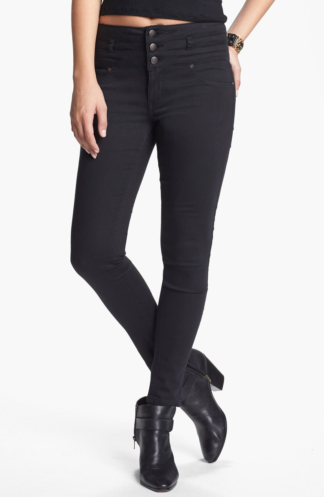 Alternate Image 1 Selected - Fire Three Button High Waist Denim Leggings (Juniors)