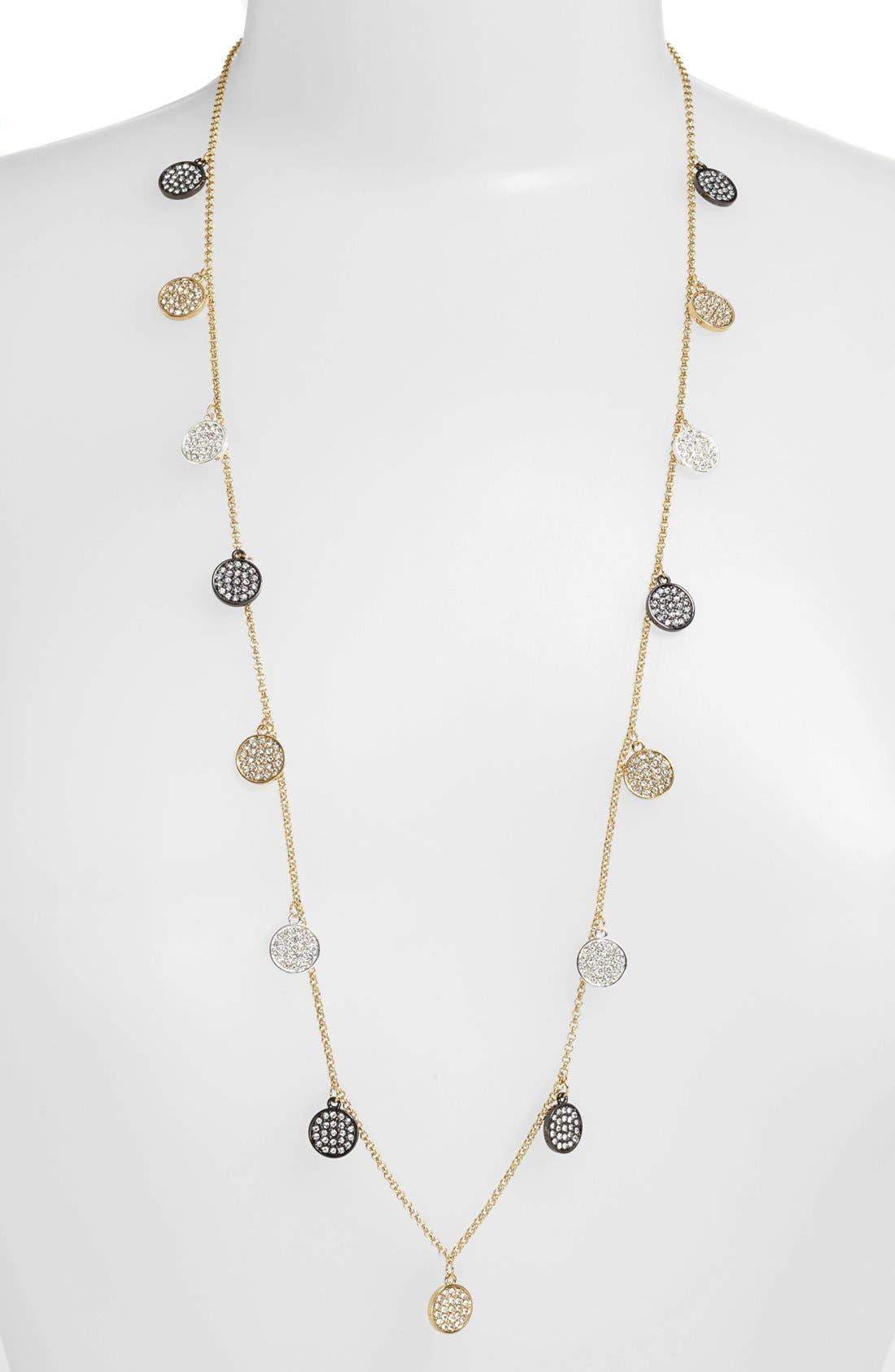 Main Image - Lauren Ralph Lauren Pavé Disc Long Necklace
