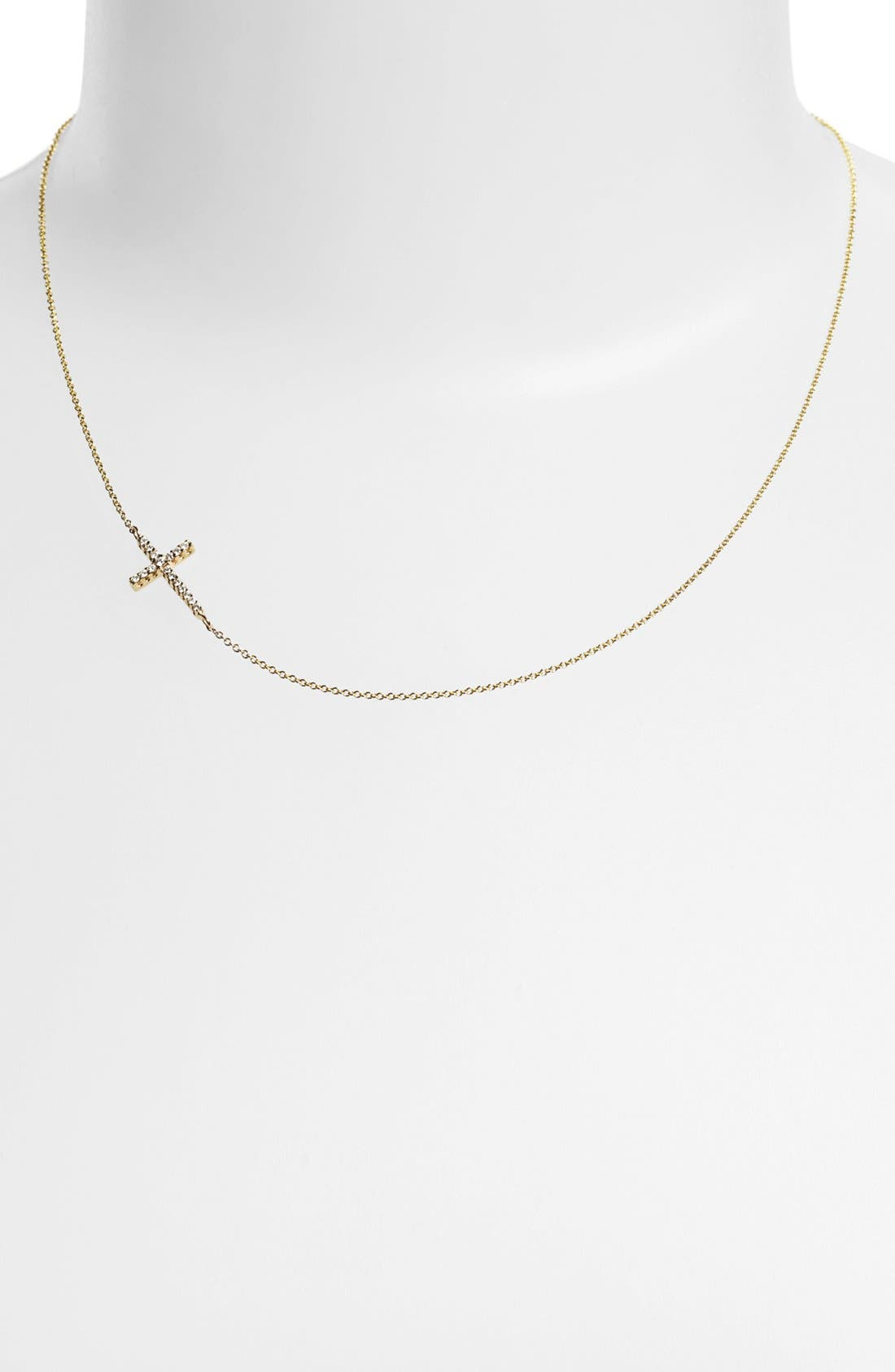 Diamond Cross Station Necklace,                         Main,                         color, Yellow Gold