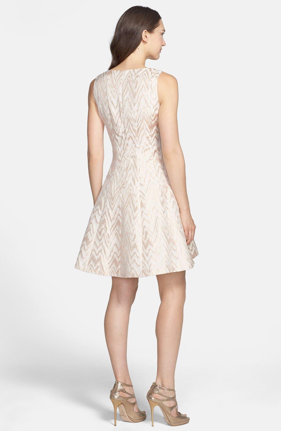 Alternate Image 2  - Vince Camuto Metallic Jacquard Fit & Flare Dress