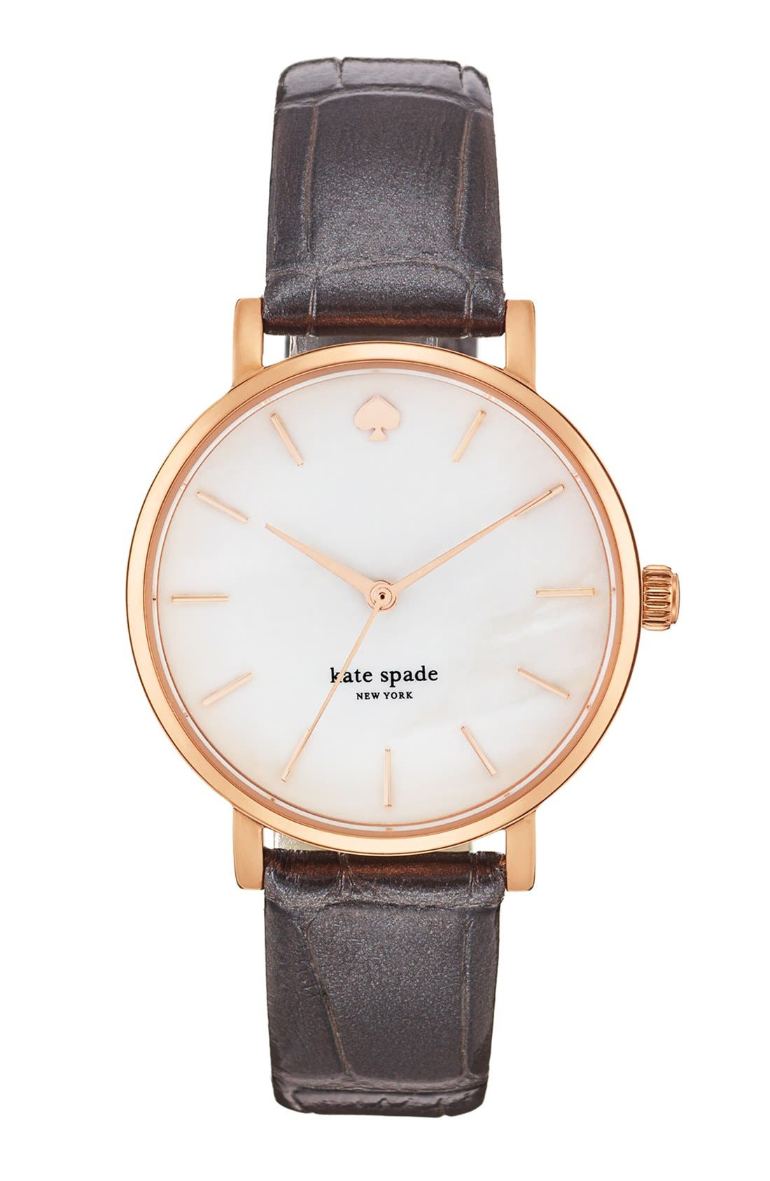 Alternate Image 1 Selected - kate spade new york 'metro' embossed leather strap watch