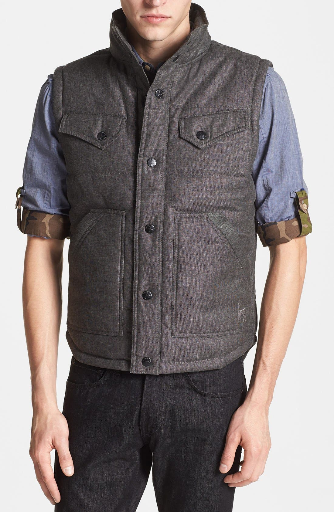 Quilted Cotton Vest,                         Main,                         color, Charcoal