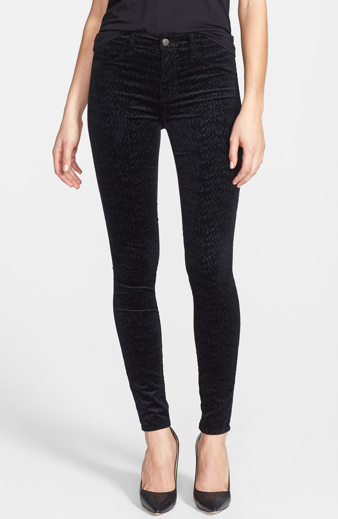 Alternate Image 1 Selected - J Brand '815' Patterned Velvet Skinny Jeans