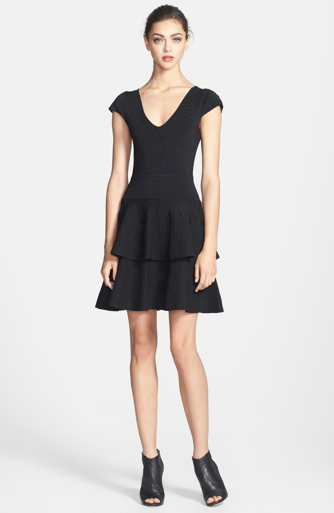 Main Image - Milly Tiered Fit & Flare Stretch Dress