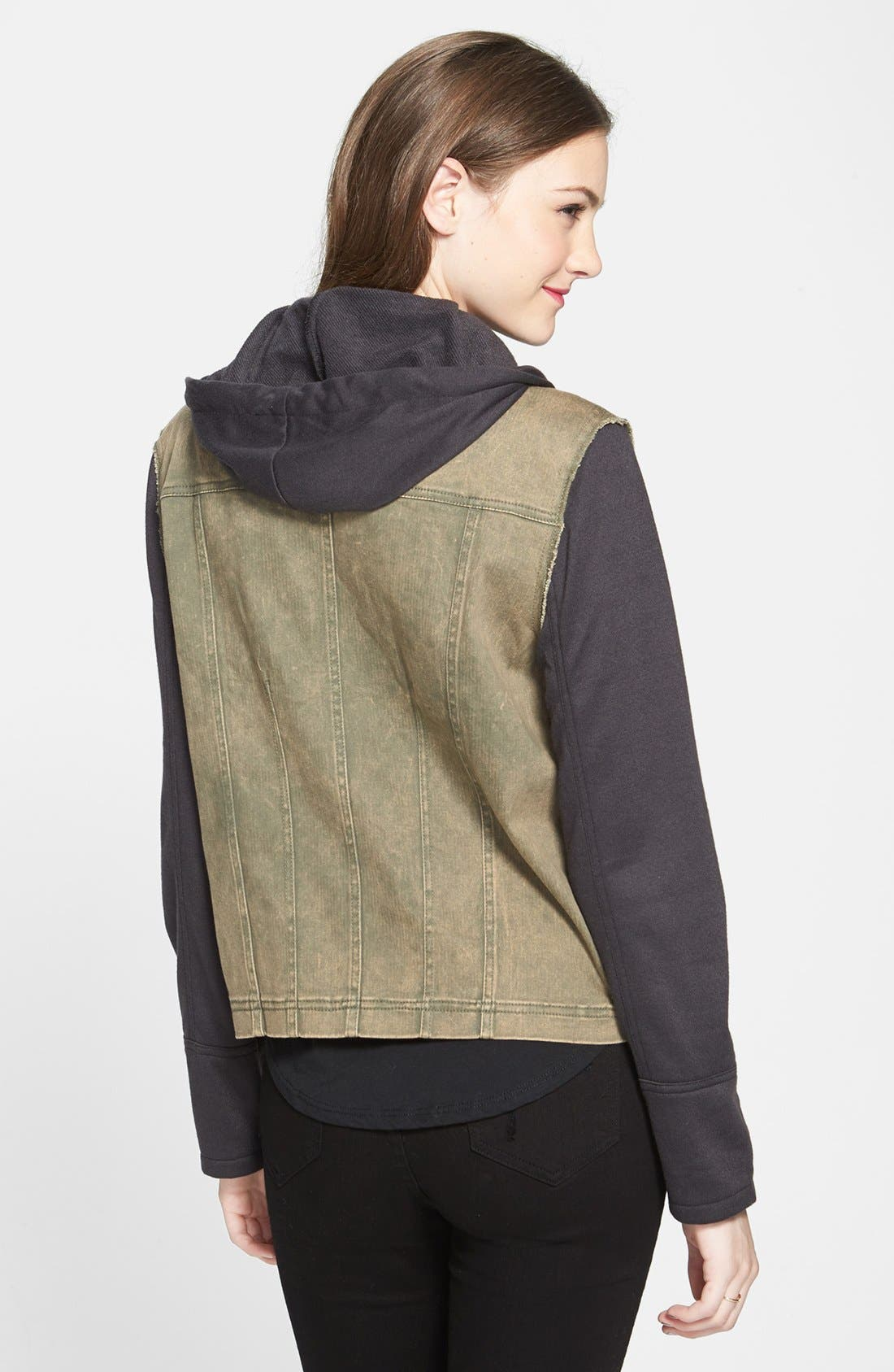 Contrast Sleeve Twill Jacket,                             Alternate thumbnail 2, color,                             Olive/ Black