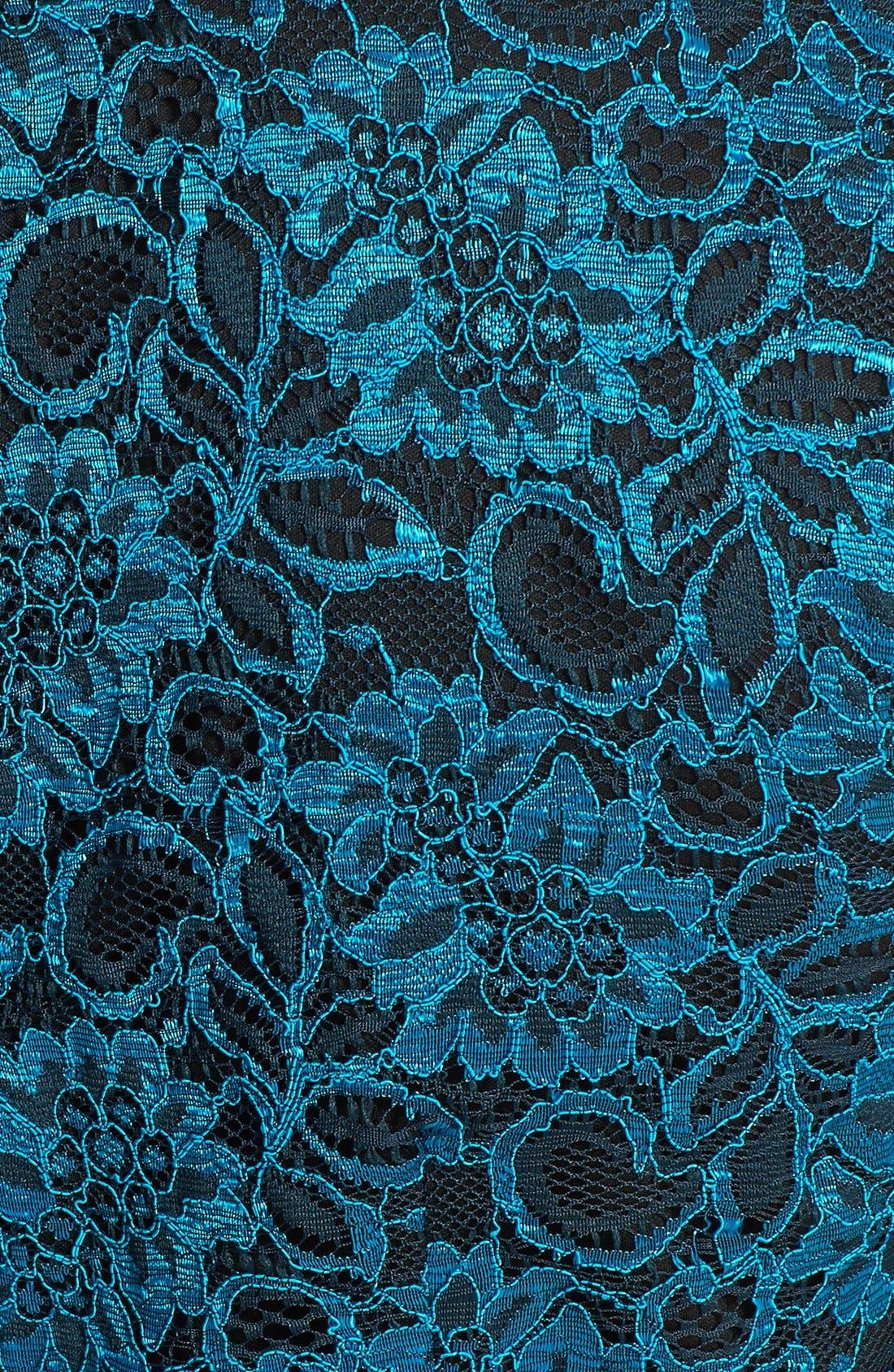 Alternate Image 3  - Alex Evenings Cap Sleeve Surplice Neckline Lace Blouse with Tie Belt (Plus Size)