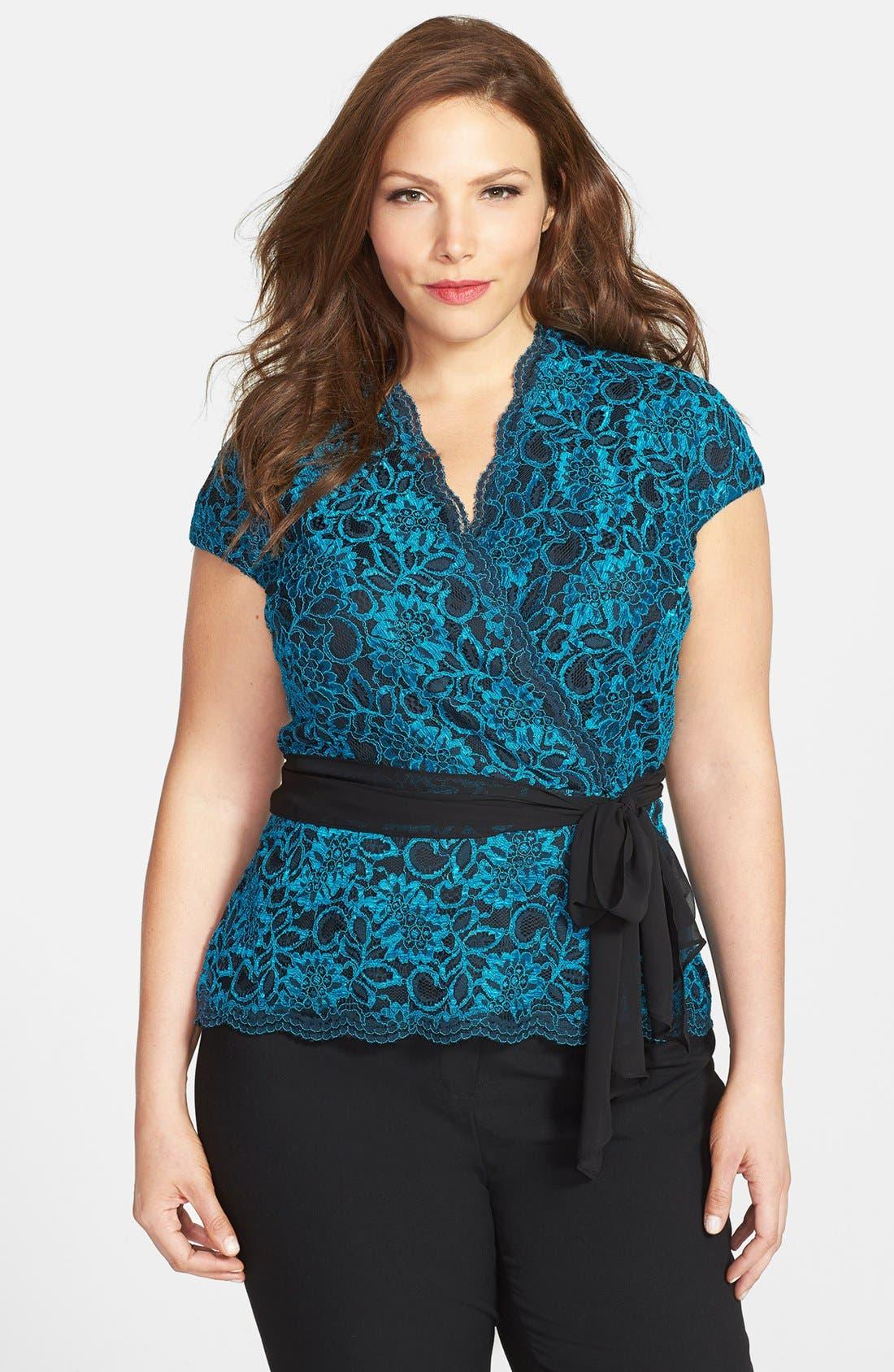 Alternate Image 1 Selected - Alex Evenings Cap Sleeve Surplice Neckline Lace Blouse with Tie Belt (Plus Size)
