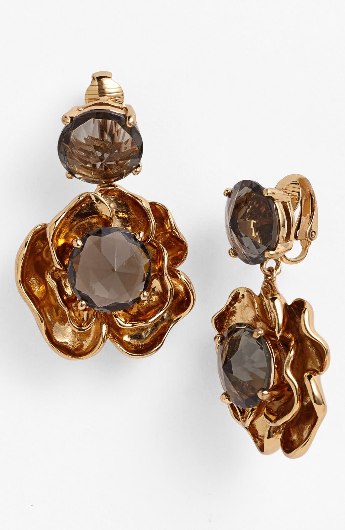 Main Image - Tory Burch 'Crystal Rose' Drop Clip Earrings