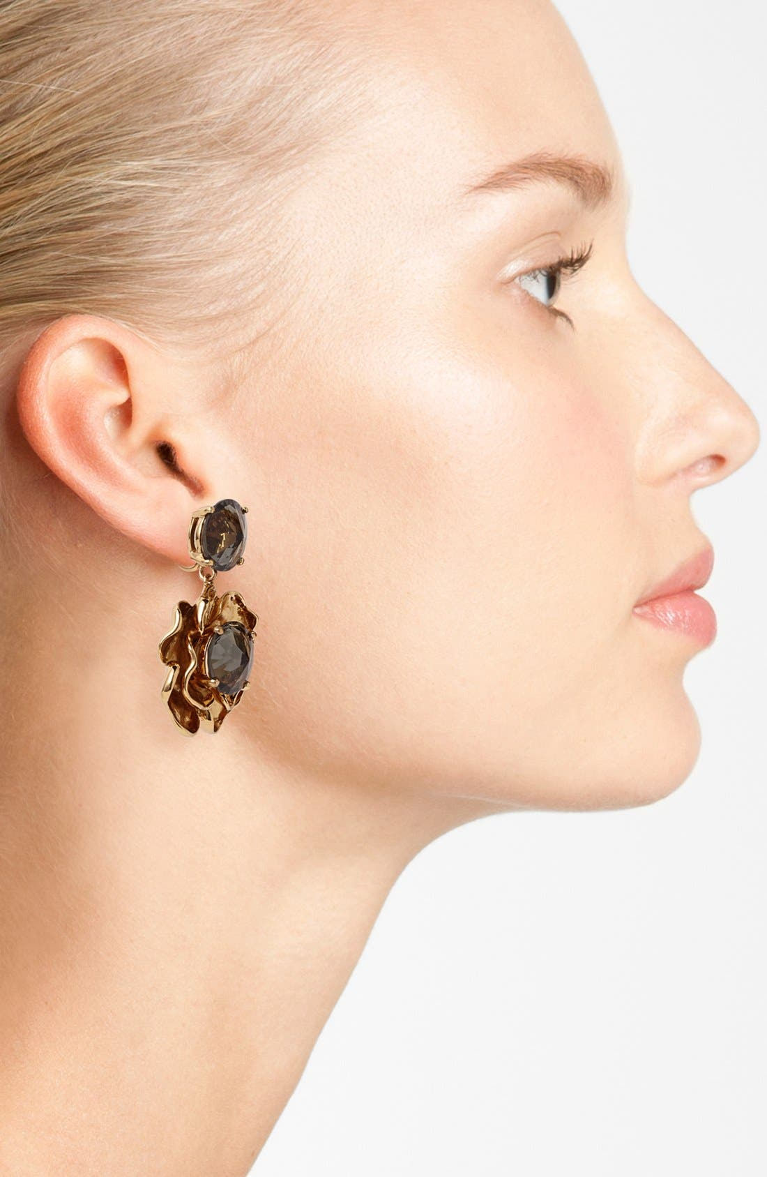 Alternate Image 2  - Tory Burch 'Crystal Rose' Drop Clip Earrings