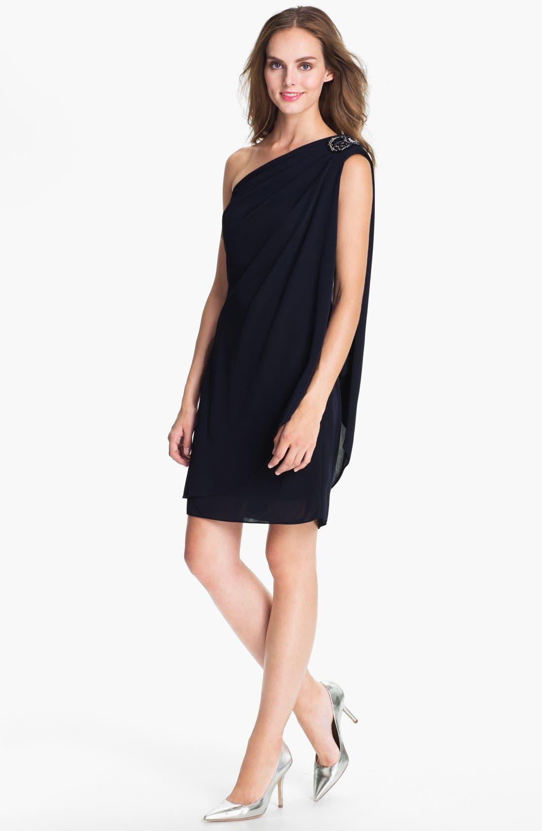 Alternate Image 1 Selected - JS Boutique Embellished One-Shoulder Mesh Dress