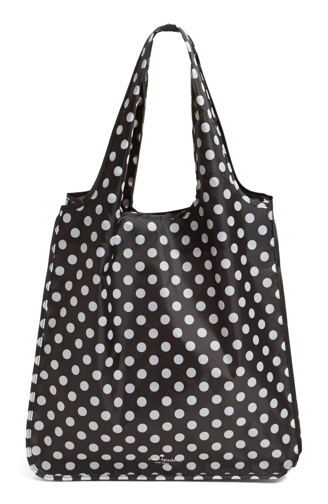 'polka dot' reusable shopping tote,                         Main,                         color, Black