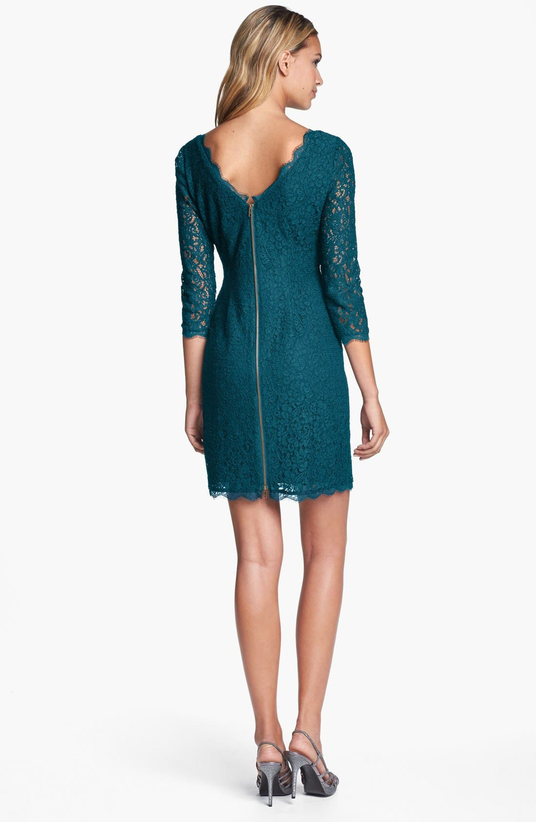Alternate Image 2  - Adrianna Papell Lace Overlay Sheath Dress (Regular & Petite)