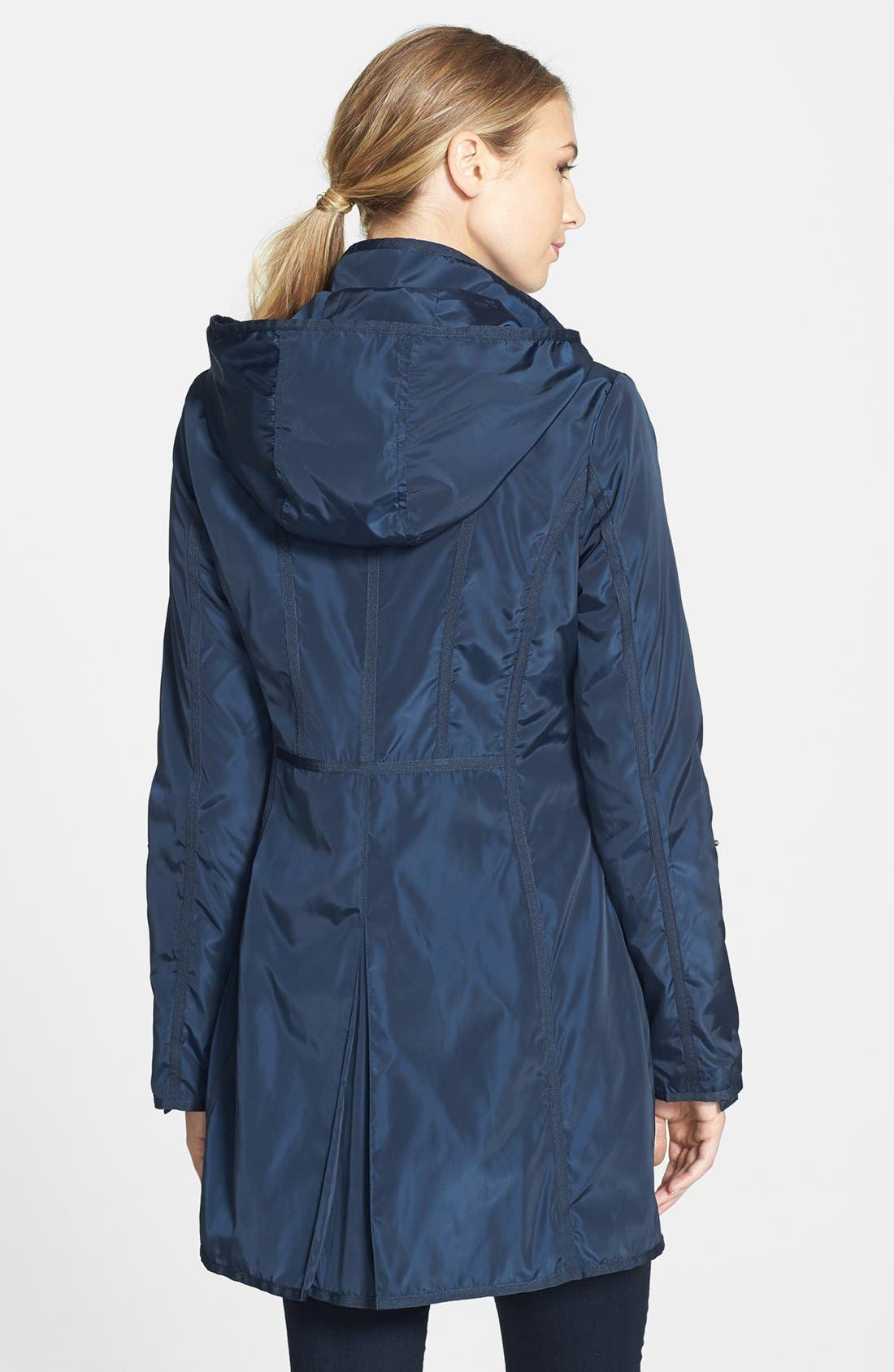 Alternate Image 2  - DKNY Grosgrain Trim Hooded Raincoat