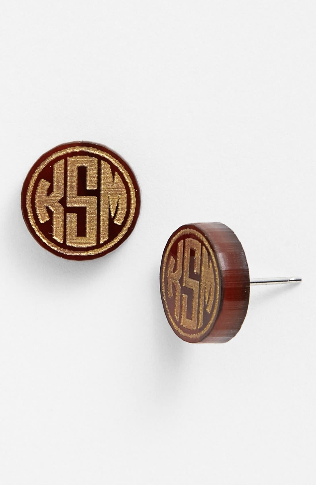 Main Image - Moon and Lola 'Chelsea' Small Personalized Monogram Stud Earrings