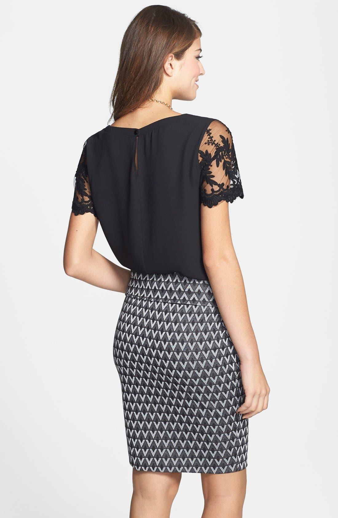 Alternate Image 2  - Lily White Metallic Textured Midi Pencil Skirt (Juniors) (Online Only)