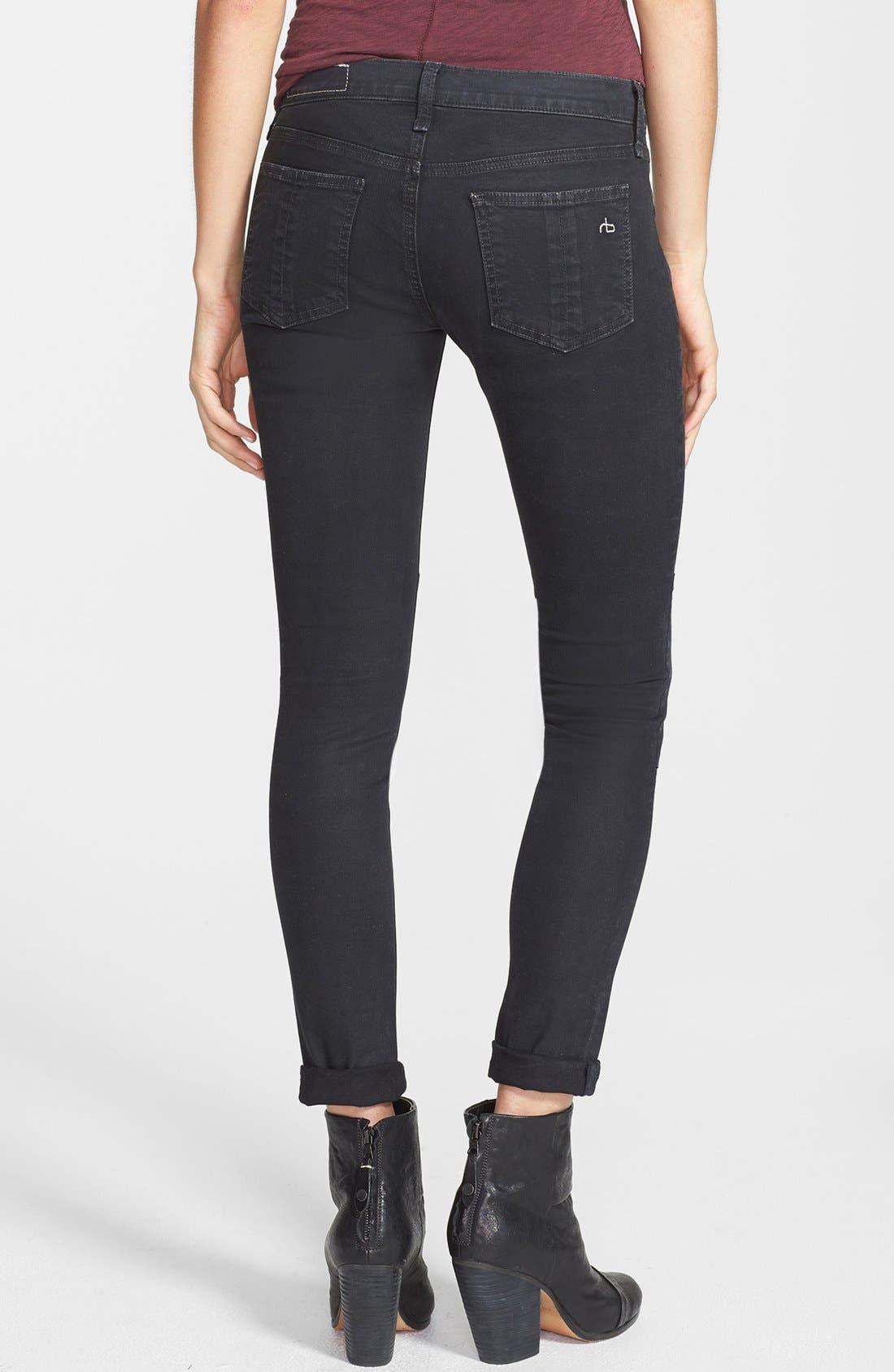 Alternate Image 2  - rag & bone/JEAN 'Ridley' Moto Skinny Jeans (Wax Black)