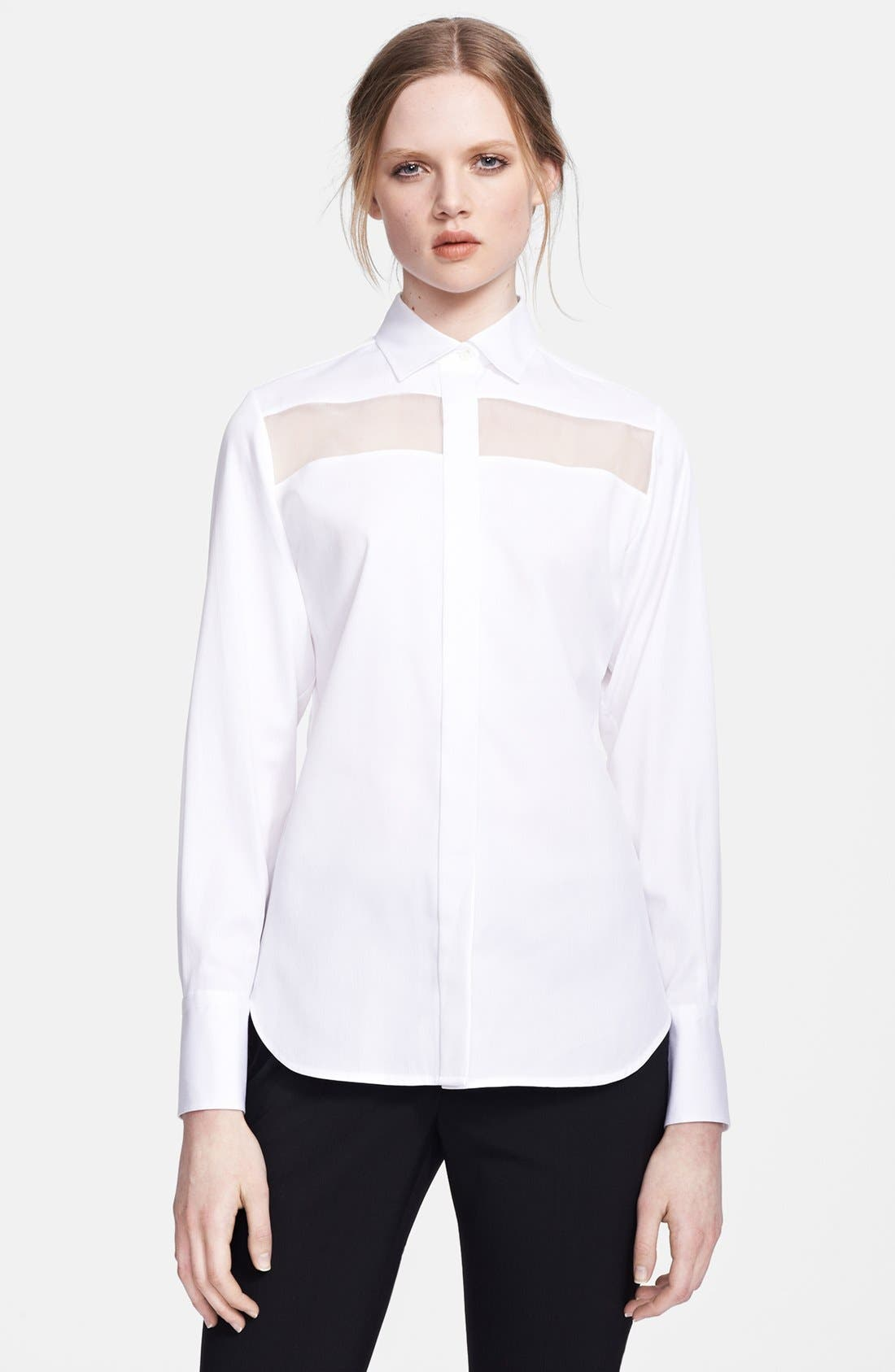 Alternate Image 1 Selected - Valentino Sheer Inset Piqué Blouse