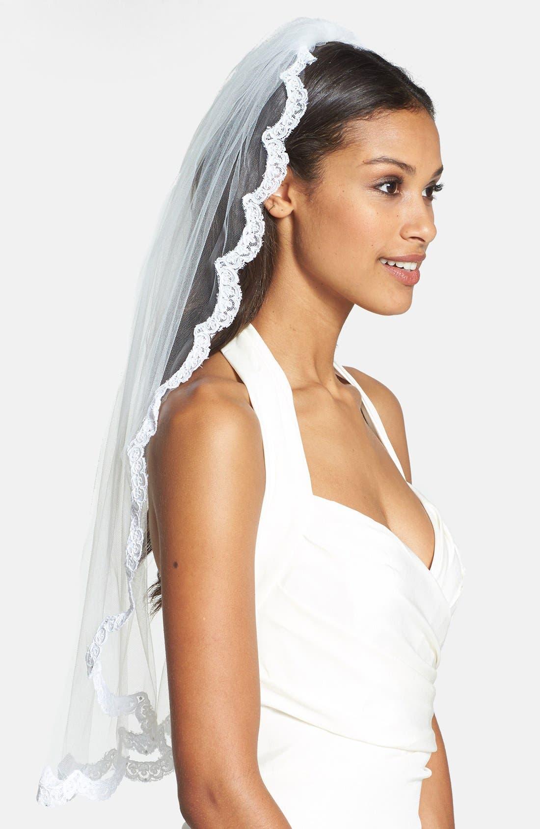 Alternate Image 1 Selected - Wedding Belles New York 'Lola - Swarovski Crystal' Lace Border Veil (Nordstrom Exclusive)