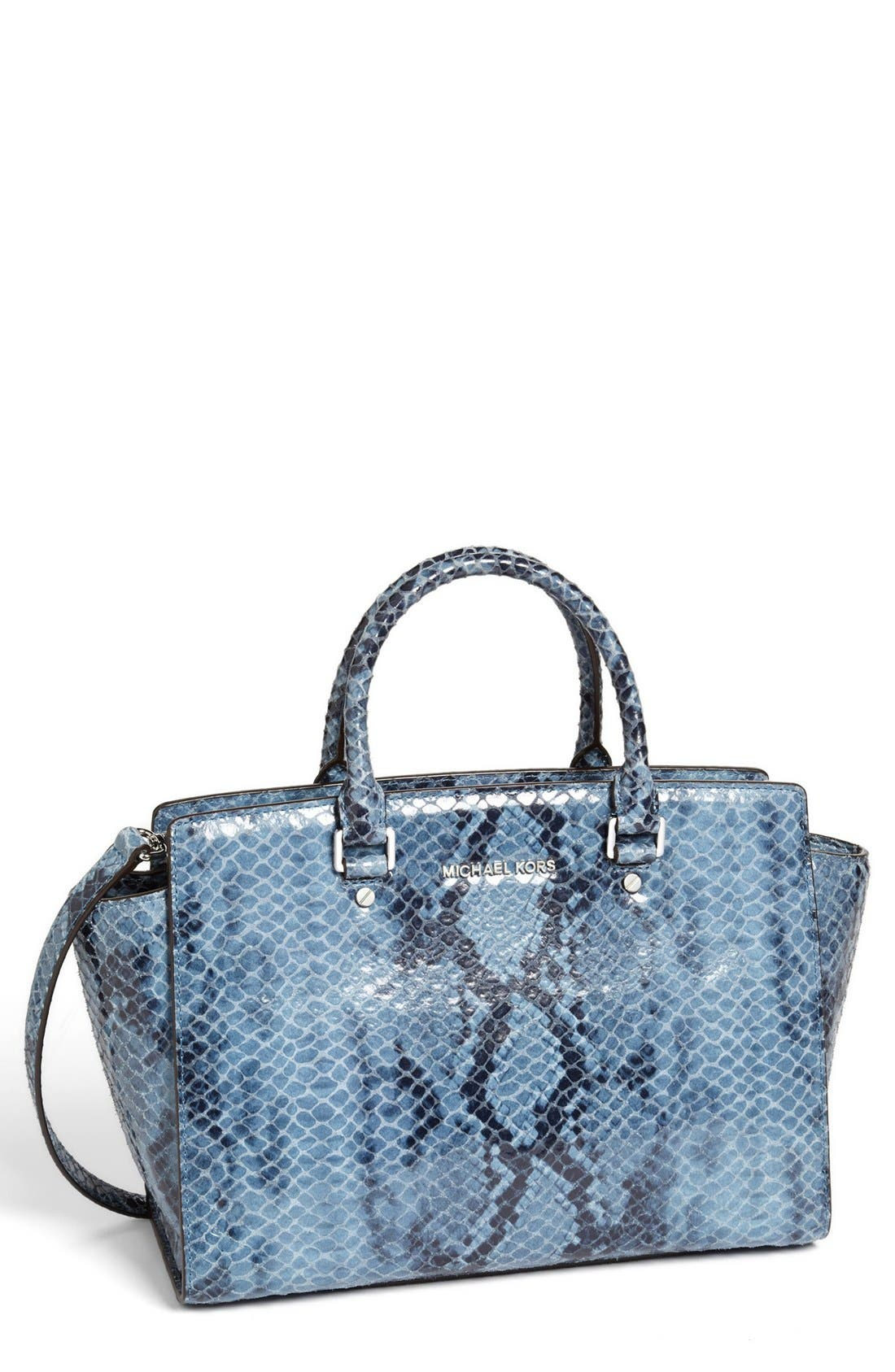 Alternate Image 1 Selected - MICHAEL Michael Kors 'Large Selma' Snake Embossed Leather Satchel