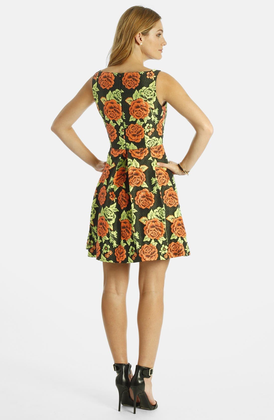 Alternate Image 2  - LABEL by five twelve Floral Jacquard Fit & Flare Dress