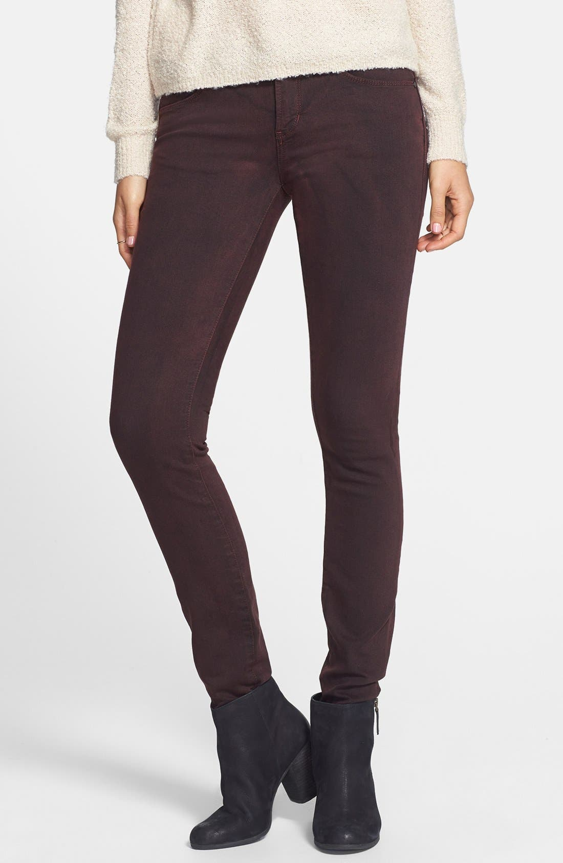 Main Image - Articles of Society 'Mya' Overdyed Skinny Jeans (Deep Red)