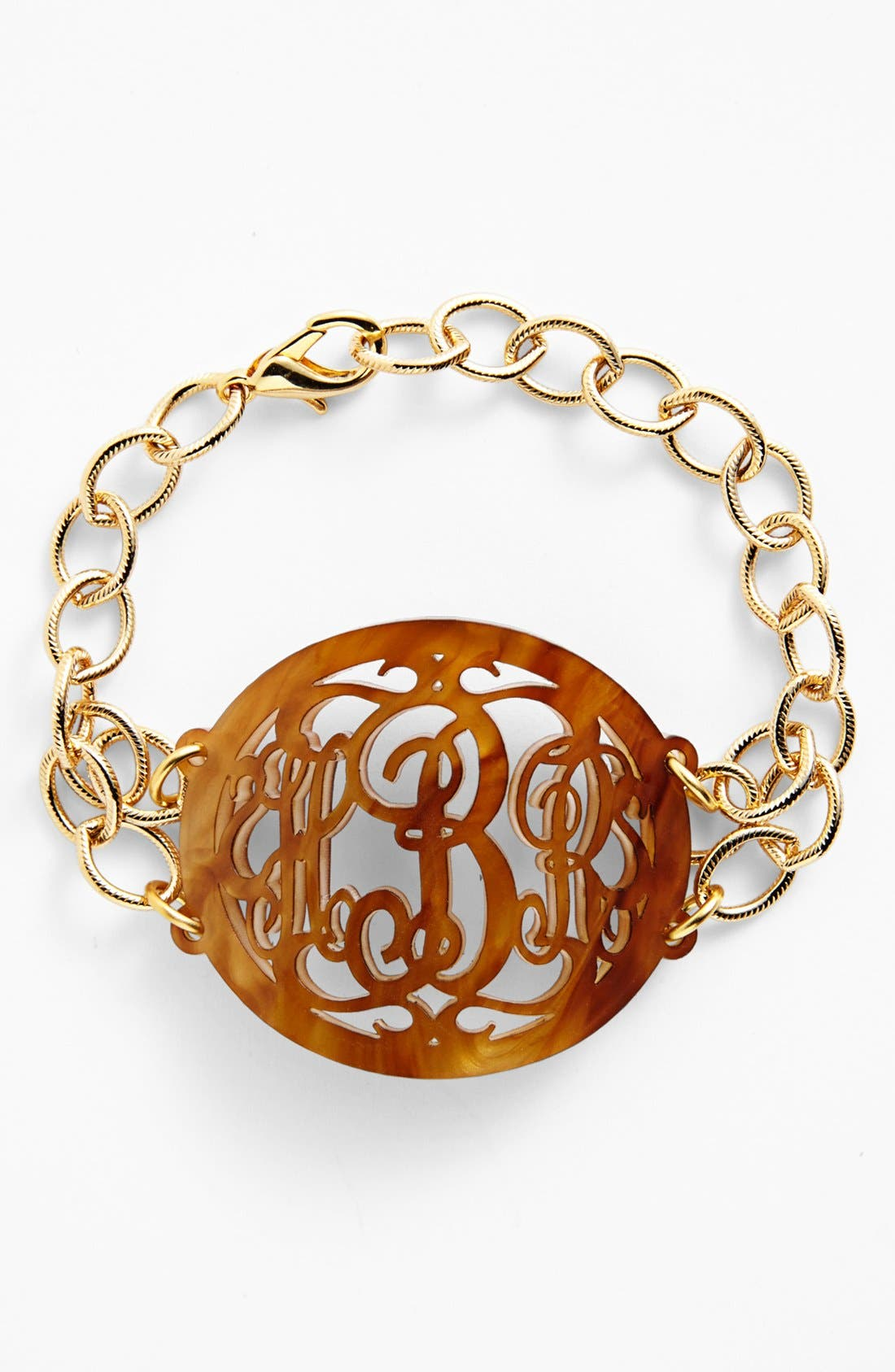 'Annabel' Large Oval Personalized Monogram Bracelet,                             Main thumbnail 1, color,                             Tigers Eye/ Gold