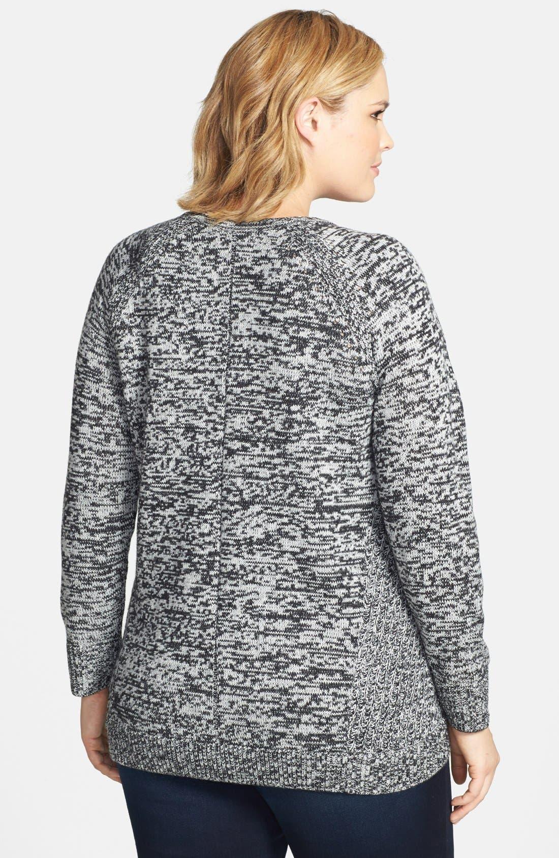Alternate Image 2  - Sejour Split Hem Marled Sweater (Plus Size)
