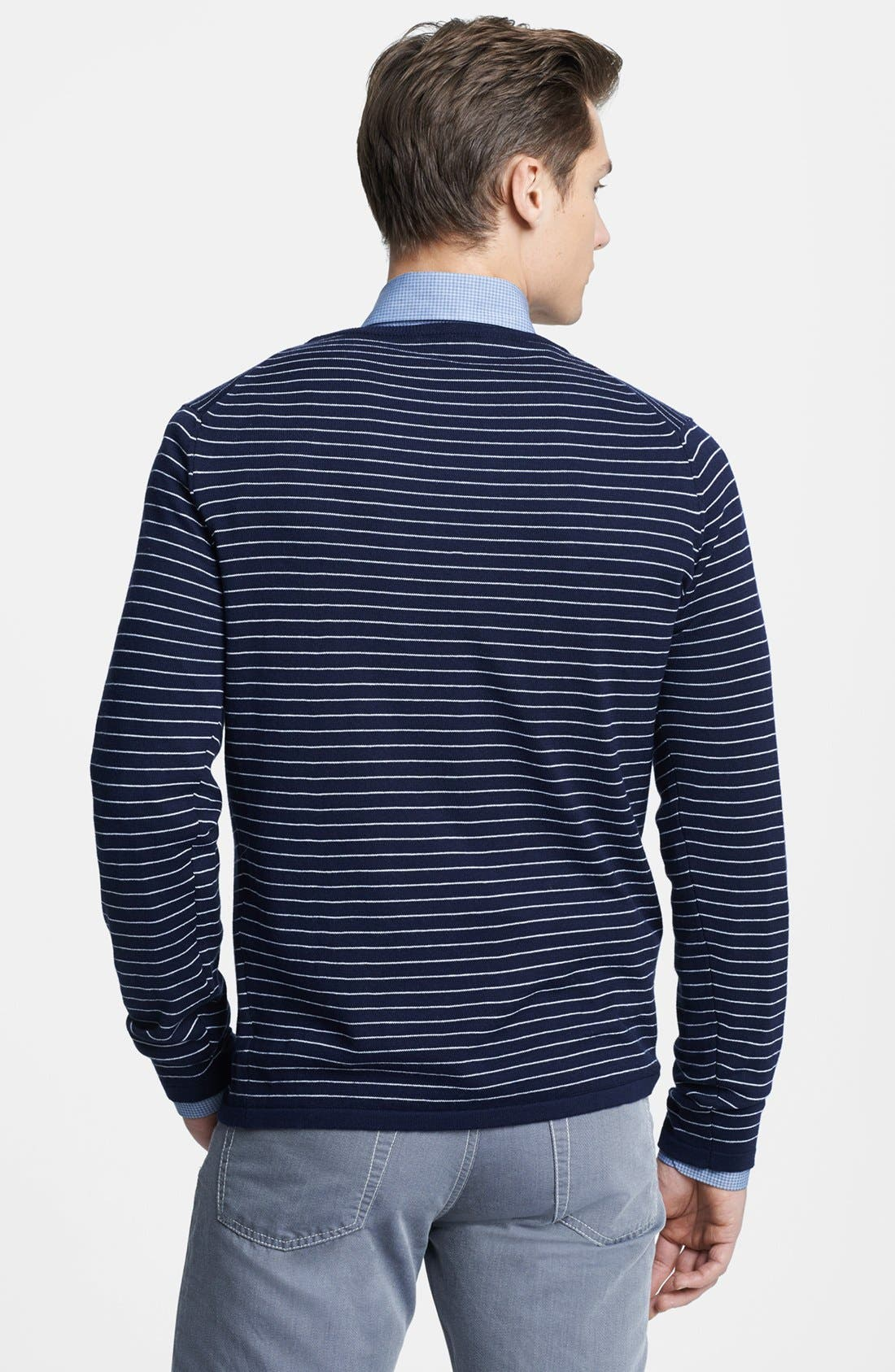 Alternate Image 2  - Canali Striped Crewneck Italian Sweater